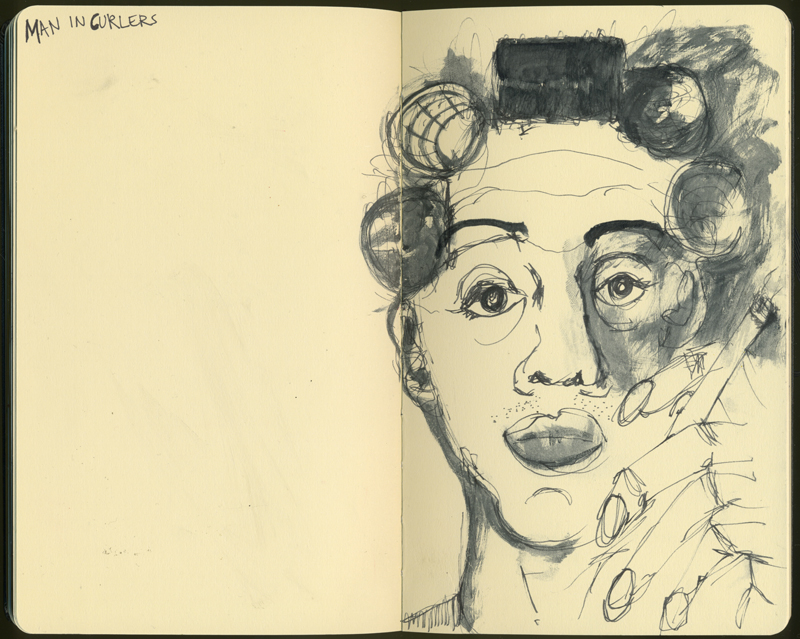 man in curlers